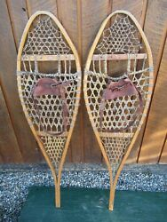 INTERESTING VINTAGE Snowshoes 48quot; Long x 13quot; with Leather Bindings DECORATIVE $39.95