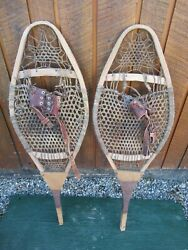 GREAT VINTAGE Snowshoes 42quot; Long x 13quot; with Leather Bindings For DECORATION $49.33