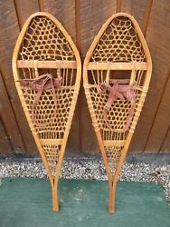 VINTAGE SNOWSHOES 42quot; Long x 12quot; Wide with Leather Bindings READY TO USE $59.75