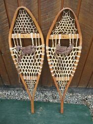 GREAT VINTAGE Snowshoes 41quot; Long x 11quot; with Leather Bindings DECORATION $49.66