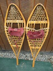 GREAT VINTAGE Snowshoes 41quot; Long x 12quot; with Leather Bindings DECORATION $49.68