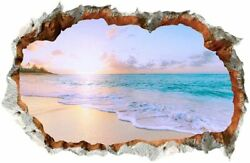 3D Wall Decals 3D Broken Wall Removable Sunny Beach Wall Stickers For Bedroom $21.41