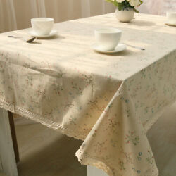 Flower Tablecloth Lace Rectangular Table Covers Cotton Linen Dining Modern Decor $31.22