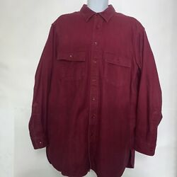 Vintage LL Bean Men's Long Sleeve Flannel Shirt Made In USA Size XL Tall Maroon $20.80