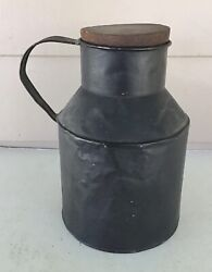 VINTAGE ANTIQUE TIN CREAM MILK CAN WITH WOODEN STOPPER $20.00