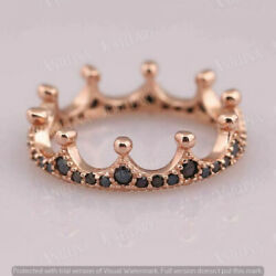 1.50 Ct Round Cut Black Diamond Eternity Engagement Band Ring 14K Rose Gold Over $99.99