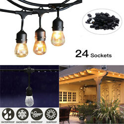 1 2 5 10Pcs 48FT Outdoor Commercial Patio Globe String Lights 24 Bulbs