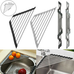 Kitchen Dish Drainer Foldable Roll Up Drying Rack Over Sink Stainless Steel Hold $8.98