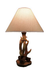 Zeckos 3 Entwined Antlers Rustic Table Lamp w Fabric Shade $76.44