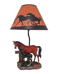 Zeckos Brown Mare and Foal Horse Hand Painted Table Lamp w Shade $79.99