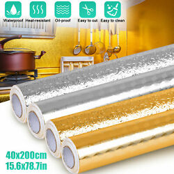 Self Adhesive Oil Proof Waterproof Aluminum Foil Kitchen Wall Sticker Home Decor $9.28