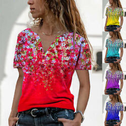 Summer Womens Casual Floral Blouse Button V Neck Short Sleeve T Shirt Loose Tops $14.83