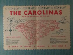 Vintage paper restaurant place mat The Carolinas map mountains to the sea $8.50