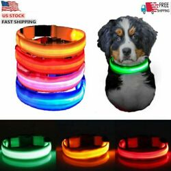 Hot Rechargeable USB LED Dog Light Up Safety Collar Night Glow Adjustable Bright $6.57