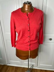 Halogen Cardigan Button Front Long Sleeve Coral Top Size Medium $11.00