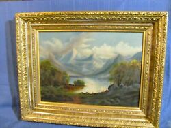 Antique Oil Painting Hudson River School with Original Gilded Frame c.1890 $389.00