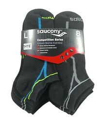 SAUCONY Mens Socks Moisture Wicking Cushioned No Show 8 Pack Shoe Size 9 12 $18.99