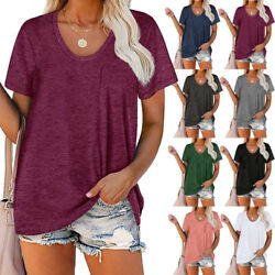 Summer Women V Neck Short Sleeve T Shirt Casual Tunic Top Loose Fit Solid Blouse $13.99