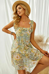 Pastel Floral Chiffon Lined Ruffled Tie Top Babydoll Short Summer Dress LARGE $24.20