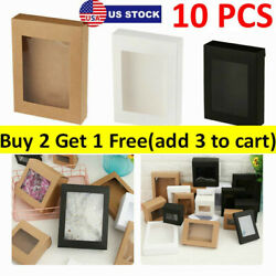 10x DIY Vintage Kraft Paper Gift Boxes Cake Candy Package with Clear PVC Window $9.35