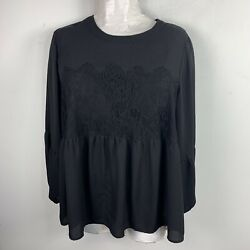 Halogen Womens Top Sz 2X Solid Black Lace Detail Long Sleeve Blouse Round Neck $18.75