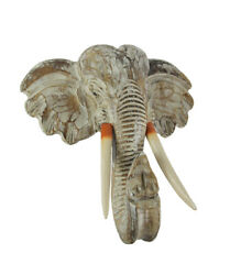 Zeckos Off White Hand Carved Wood Elephant Head Wall Hanging 16 inch $50.81