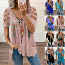 Womens Zipper V Neck T Shirt Casual Floral Blouse Loose Hollow Short Sleeve Tops $17.19
