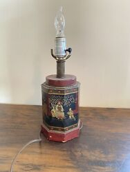 VTG Frederick Cooper Lamp Tin Tea Canister Asian Oriental Table Gold Red Works $80.00