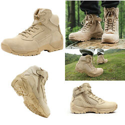 Mens Ankle Side Zip Zipper Military Tactical Hiking Boots Leather Combat Boots $46.94