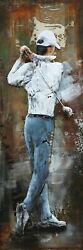 Golfer 3 D Oil Painting Wall Decor Metal And Wood Canvas Home Office Decoration $149.25