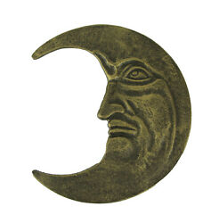 Bronze Finish Cast Iron Crescent Man in the Moon Face Indoor Outdoor Wall Decor $39.99