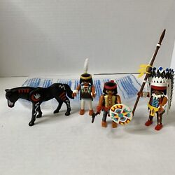 PLAYMOBIL Action Figures INDIAN NATIVE AMERICAN WESTERN VINTAGE With HORSE Clean $18.99