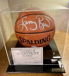 Larry Bird Signed Spalding Official NBA Basketball w Display Case amp; Certificate $195.00