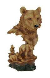 Zeckos Faux Carved Bear Head and Family Wood Look Statue $39.99