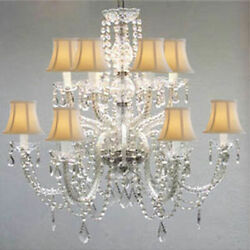 12 LIGHT CRYSTAL CHANDELIER WHITE SHADE LIVING DINING ROOM KITCHEN FOYER FIXTURE $387.19
