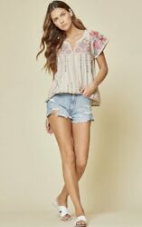 SAVANNA JANE Oyster Short Sleeve Top with Embroidery Accents $56.50