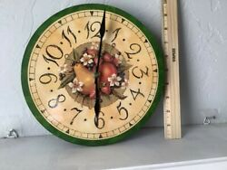 Vintage Fruit amp; Flowers Kitchen Wall Clock with AA battery included $8.49