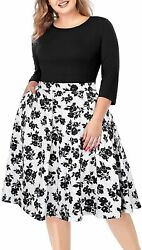 Women#x27;s Plus Size Floral Dresses Round Neck Casual Party Patchwork Swing Dress w $76.26