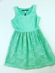 Kensie Women#x27;s Size M Fit and Flare Short Lace dress in mint color sleeveless $19.00