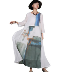 Retro Womens Printed Cotton Maxi Loose Fit Crew Neck Oversize Holiday Dresses $79.87