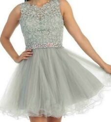 DANCING QUEEN 9159 FANCY PARTY PROM FORMAL HOLIDAY DRESS OUTFIT S SMALL SILVER $77.99