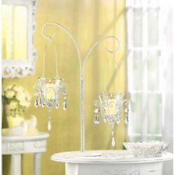 White 17quot; Crystal Beaded Chandelier Candle Holder Hanging Candelabra Centerpiece $30.80