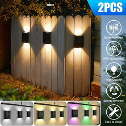 Outdoor Solar 2 LED Deck Lights Path Garden Patio Pathway Stairs Step Fence Lamp