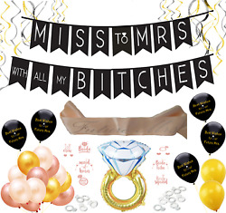 Miss to Mrs Bachelorette Party Bridal Shower Supplies Decorations Rose Gold Kit $18.50