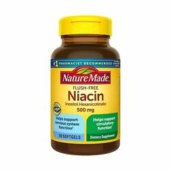 Nature Made Niacin 500mg Flush Free Softgels 60 Count Helps Support Nervous... $22.99