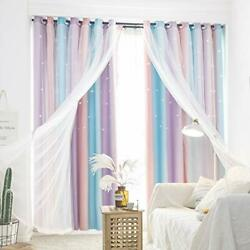 UNISTAR Blackout Stars Kids Curtains for Girls Bedroom Aesthetic Decor Colorf... $31.95