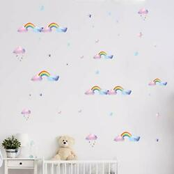 Rainbow Wall Decals for Girls Room Nursery Wall Art Stickers Watercolor $4.19