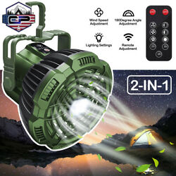 Portable Camping Lantern Tent LED Light w Ceiling Fan Rechargeable Outdoor Lamp $23.99