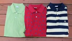 Brooks Brothers Mens Lot of 3 Polo Shirts Sz M Green Red Crabs Blue Yellow $29.99