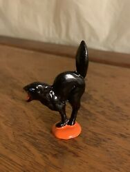 Scary Black Cat Halloween Toy Soldier Barclay Manoil Grey Iron Vtg Lead Figure $10.95